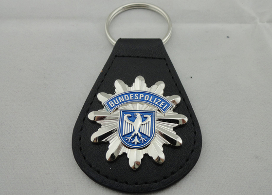 China 3D BUNDESPOLIZEI Leather Keychain, Customized Keychains with Zinc Alloy Enamel Emblem distributor