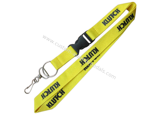 China KLUT-CH Silk Screen, Heat Transfer Printing, Woven Promotional Lanyards With Split Ring And Metal Hook distributor