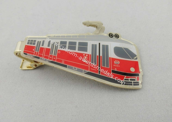 China 3D Brass Photo Personalized Tie Bar Etched With Soft Enamel , Gold Plating distributor