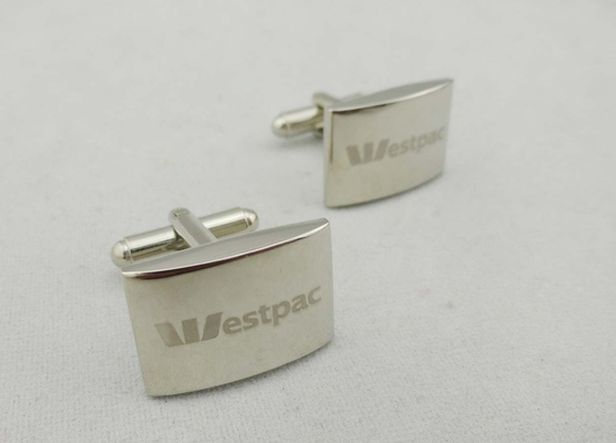 China ESTPAC Square Zinc Alloy Cufflink , 21 mm Laser Engraved Logo For Company distributor