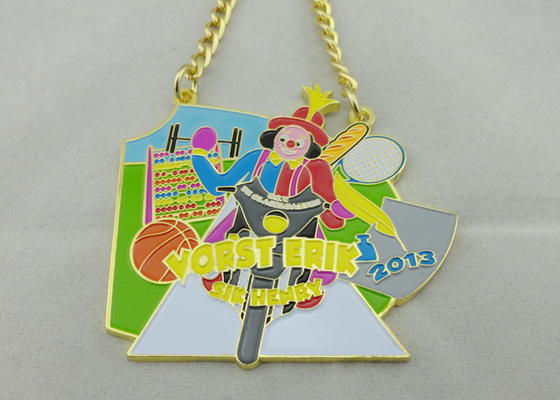 China 3.5mm Color Clown Logo Personalized Carnival Medal For Kids With Gold Chain distributor