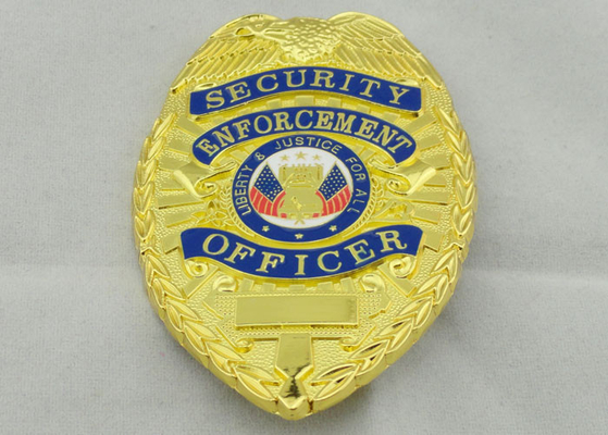China 80mm Police Souvenir Badges , Zinc Alloy With Gold Plating Brooch Pin On Back Side distributor