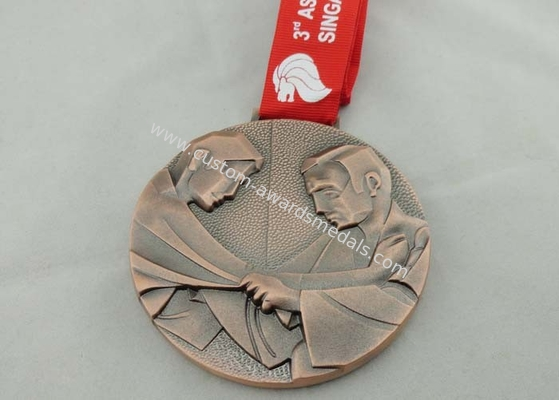 China Asian Judo Kata 2013 Ribbon Medals Copper Plating Full 3d For Gift distributor