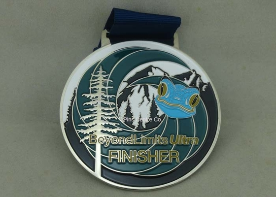 China Customized Big Round Antique Enamel Medals , Brass Die Struck Running Sports Medal distributor