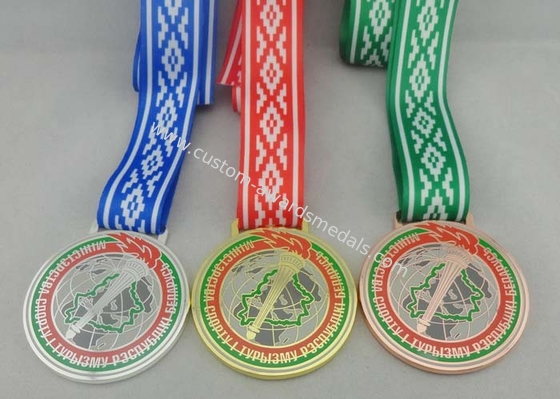China Egg Hunt Triathlon Ribbon Medals Copper Plating , Full Color Printing distributor