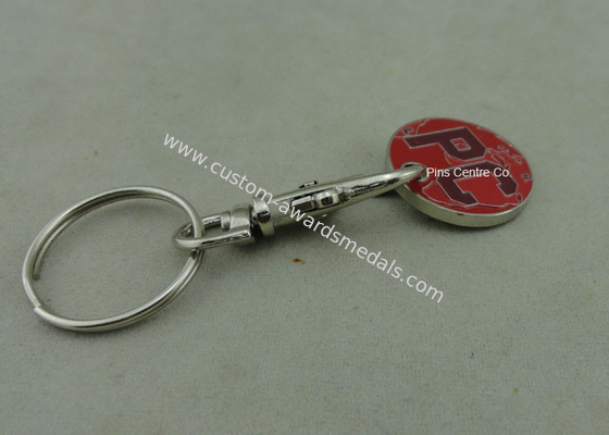 China Supermarket Trolley Tokens Key Chain Brass Stamped Customized factory