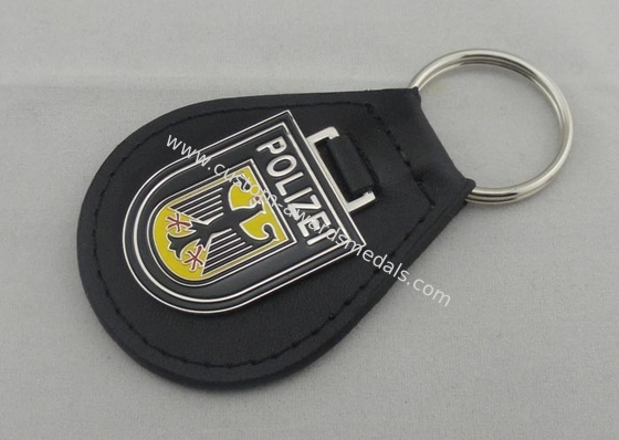 China Iron Personalized Leather Keychains And Germany Polizei Leather Key Chain distributor