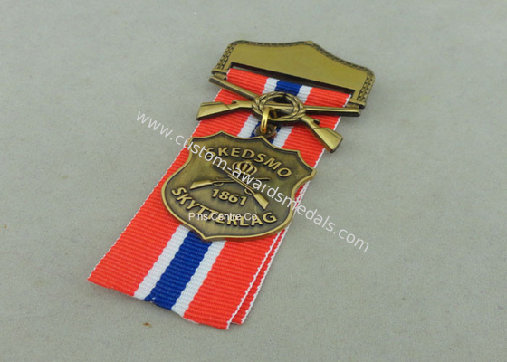 China Zinc Alloy Military Awards Medals , 3D Die Casting Short Ribbon Medallions factory