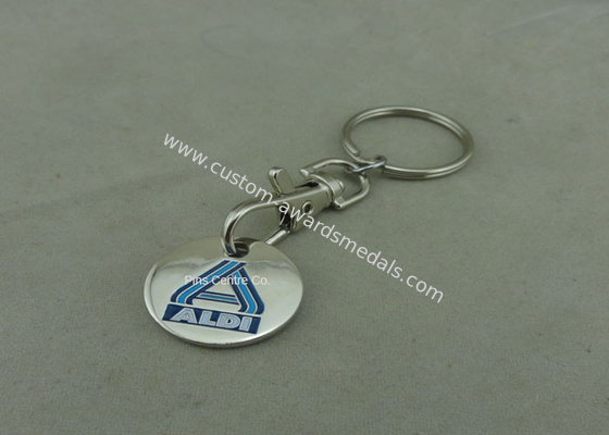 China Promotional Trolley Coin Keychain , Die Struck Customized Enamel Token factory
