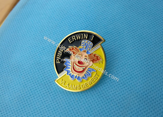 China Business Promotion Soft Enamel Pin  ,  Prins Erwin Carnaval Pin Badge Die Stamped factory