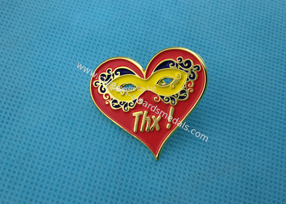 China Personalised Die Casting Soft Enamel Pin , Gold Epoxy Pin Badge Heart Shaped factory