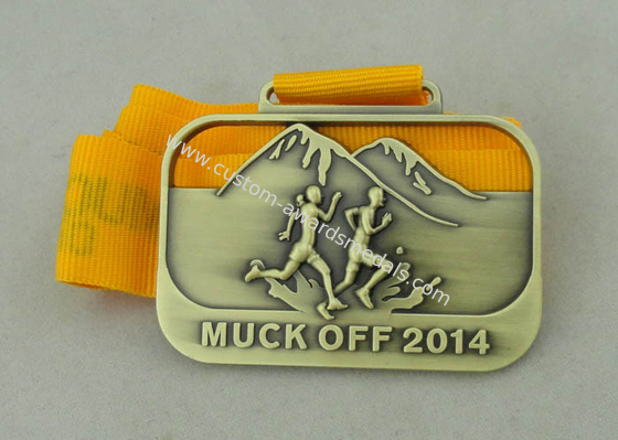 China 3D Die Casting Running Ribbon Medals For 2014 Muck Off And Antique Brass Plating distributor