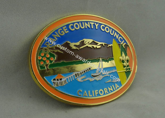 China California Orange County Council Custom Made Buckles With Gold Plating And Soft Enamel distributor