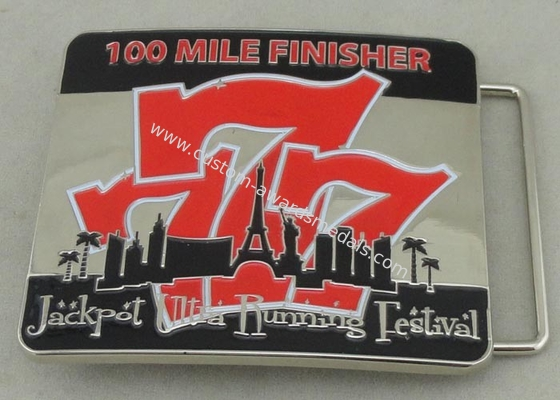 China Jackpot Ultra Running Festival Custom Made Belt Buckles 100 Miles Finisher With Soft Enamel distributor