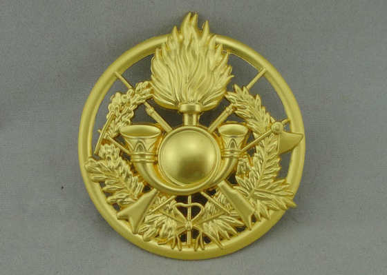 China 2.5 inch Full 3D Award Badges , Die Casting Misty Gold Military Badges distributor
