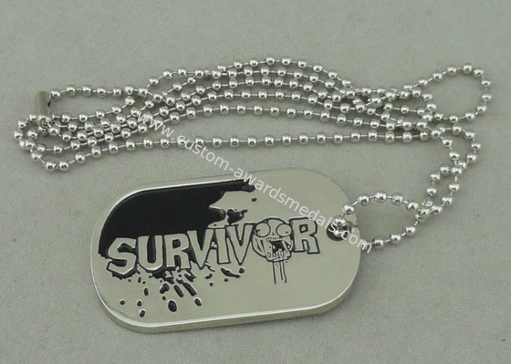 China Zinc Alloy Survivor Personalised Dog Tags Soft Enamel Long Ball Chain And Nickel Plating distributor