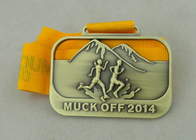 3D Die Casting Running Ribbon Medals For 2014 Muck Off And Antique Brass Plating